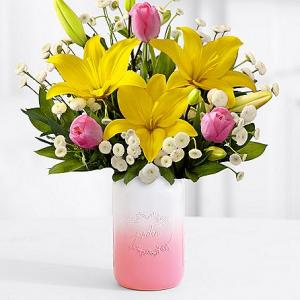 Fresh Easter Lilies & Tulip Bouquet with Pink Mason Jar