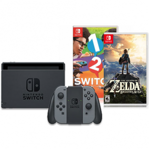 Nintendo Switch with Gray Joy-Con + Zelda: Breath of the Wild + 1 2 Switch