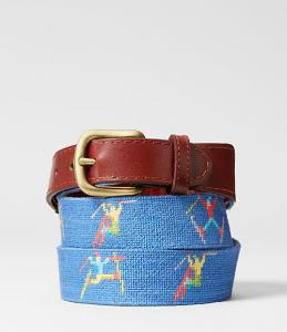 Jake Spade Needlepoint Ski Tricks Belt