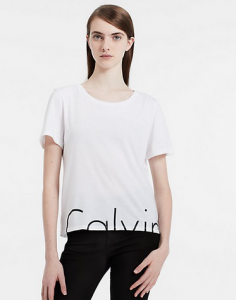 Calvin Klein Slim Fit Split Logo T-shirt For $14.75