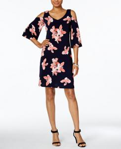 Take an Extra 30% Off This Floral-Print Cold-Shoulder Dress by Connected at Macy's Plus Get Free Shipping When You Spend $49