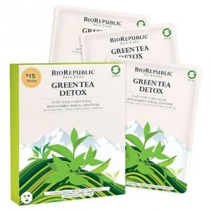 Bio Republic Green Tea Detox Purifying Fiber Mask- Set of 3