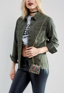 Reclaimed Vintage Inspired Multi Stone Mini Cross Body Bag