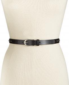 Studded Skinny Leather Belt