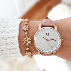 Women's Mvmt Leather Strap Watch, 38Mm, Rose Gold/Peach Leather