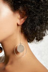 Drop-Chain Hoop Earrings