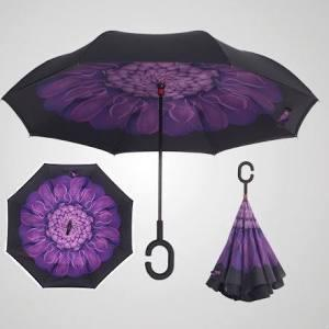 Stylish C-Handle Windproof Double Upside Down Layer Inverted Folding Umbrella