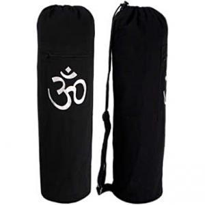 Black OM Cotton Yoga Mat Bag
