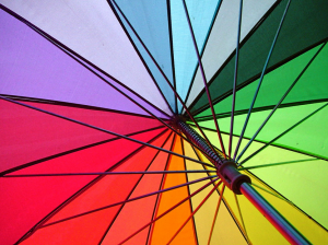 RainWorthy 60-inch Automatic Windproof Rainbow Umbrella