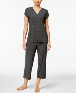Charter Club V-Neck Top and Cropped Pants Striped Knit Pajama Set