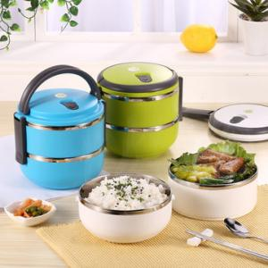 2-Layer Stainless Steel Portable Insulated Thermal Lunch Box
