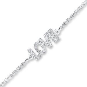 Diamond Love Anklet 1/15 ct Round-cut Sterling Silver