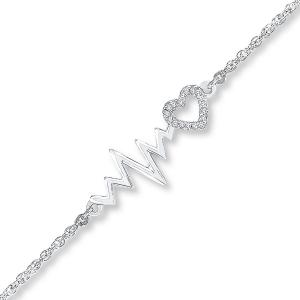 Heartbeat Anklet Diamond Accents Sterling Silver