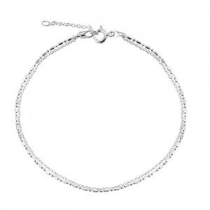 Barefoot Beach Sterling Silver Double Row Link Anklet