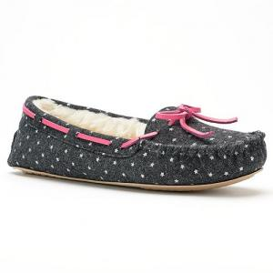 SO® Women's Starry Print Denim Moccasin Slippers