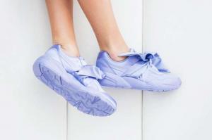 Amazing $79.99 (Orig. $160) Puma Fenty by Rihanna Satin Bow Sneaker Lavender/Tan