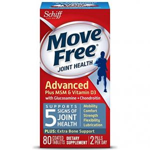 $12.99 (Was $29.99) Move Free Advanced Glucosamine Chondroitin MSM Vitamin D3 and Hyaluronic Acid Joint Supplement, 80 ct