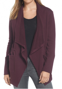 $24.97 (Was $69) Caslon Asymmetrical Drape Collar Terry Jacket (Regular & Petite)