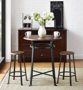 $79 (Was $99) Generic Mainstays Round 3pc Metal Pub Set with Wood Top, Dark Mahogany