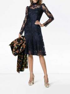 Dolce & Gabbana high neck lace midi dress