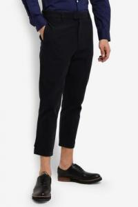 50% off ZALORA Cropped Brushed Cotton Pants With Snap Button Cuff