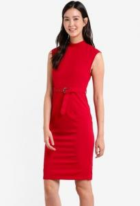 $25 off ZALORA Tailored High Neck Belted Dress